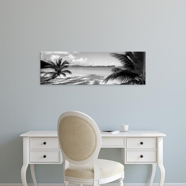 Easy Art Prints Panoramic Images's 'Palm trees on the beach, US Virgin Islands, USA' Premium Canvas Art