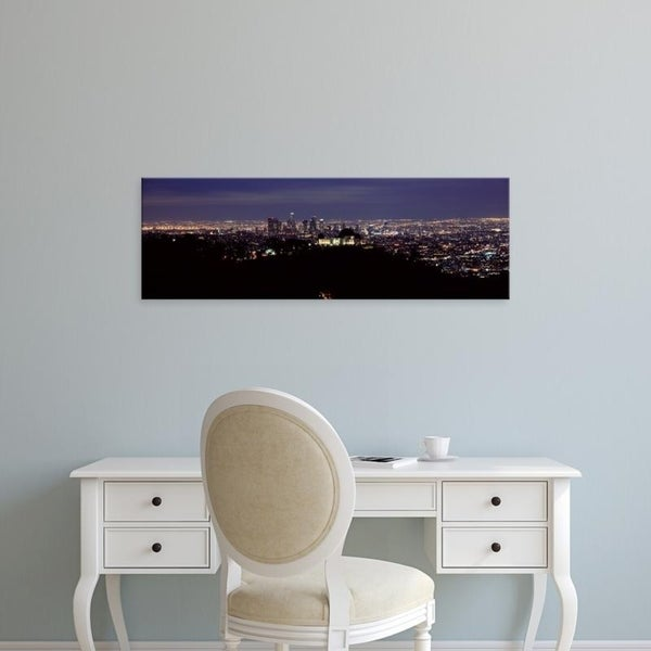 Easy Art Prints Panoramic Images's 'Aerial view of a cityscape, Griffith Park Observatory, Los Angeles, California' Canvas Art