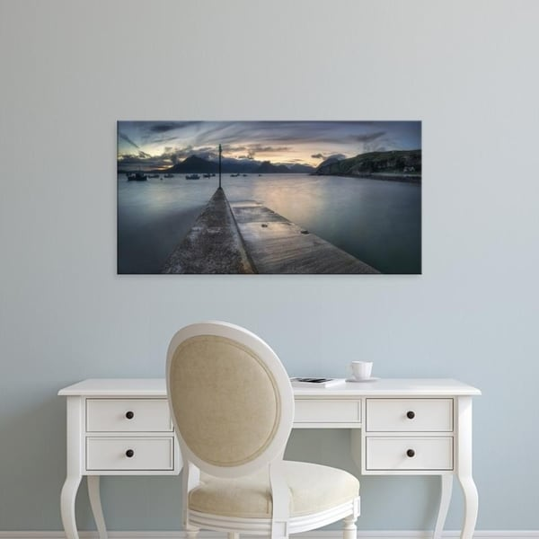 Easy Art Prints Panoramic Images's 'Elgol Pier and boats with Cuillin Mountains, Isle of Skye, Scotland' Canvas Art