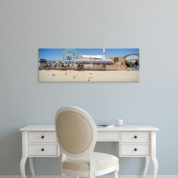 Easy Art Prints Panoramic Images's 'Tourists at an amusement park, Coney Island, Brooklyn, New York City' Canvas Art
