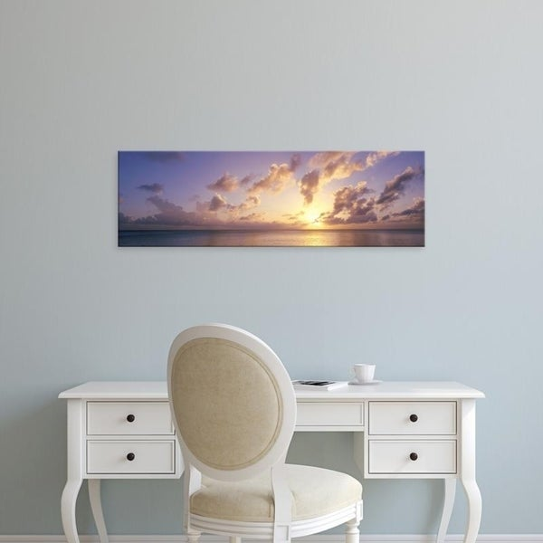 Easy Art Prints Panoramic Images's 'Caribbean Sea, Cayman Islands, Seven Mile Beach, Sunset' Premium Canvas Art