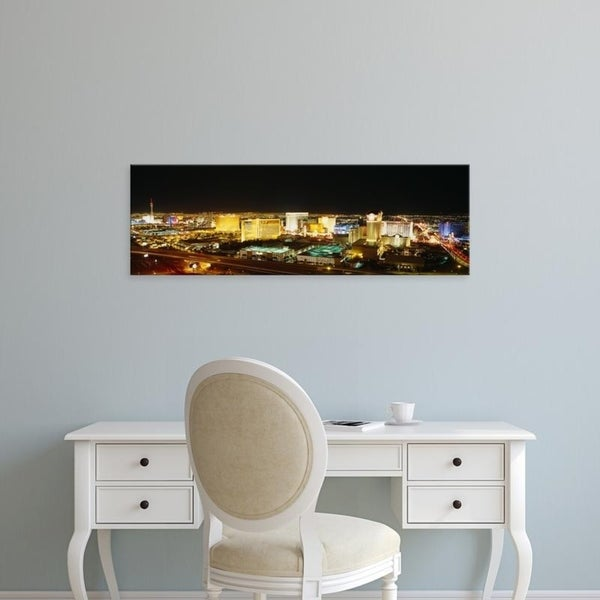 Easy Art Prints Panoramic Images's 'High Angle View Of Buildings Lit Up At Night, Las Vegas, Nevada, USA' Premium Canvas Art