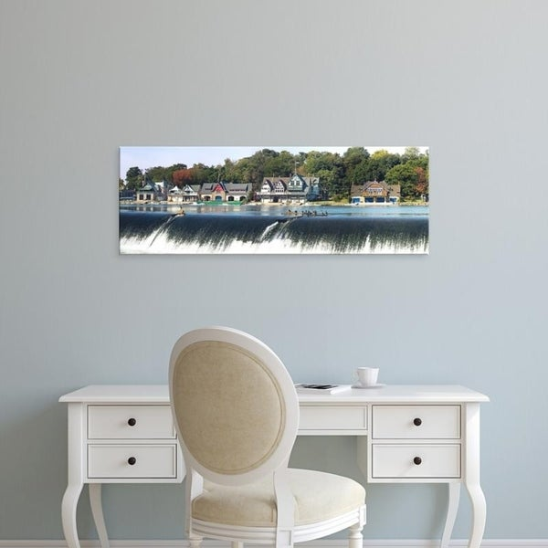 Easy Art Prints Panoramic Images's 'Boathouse Row at the waterfront, Schuylkill River, Philadelphia, Pennsylvania' Canvas Art