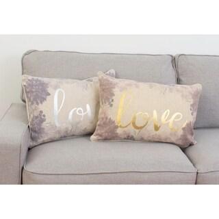 """Thro 14x22"""" Lynette Love Foil Printed Flash Faux Linen Pillow"""