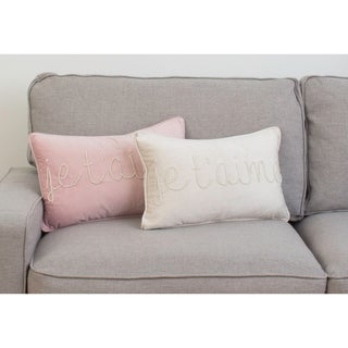 Thro 12x20 Jessie Je T'Aime Pearl Word Barbara Velvet Pillow