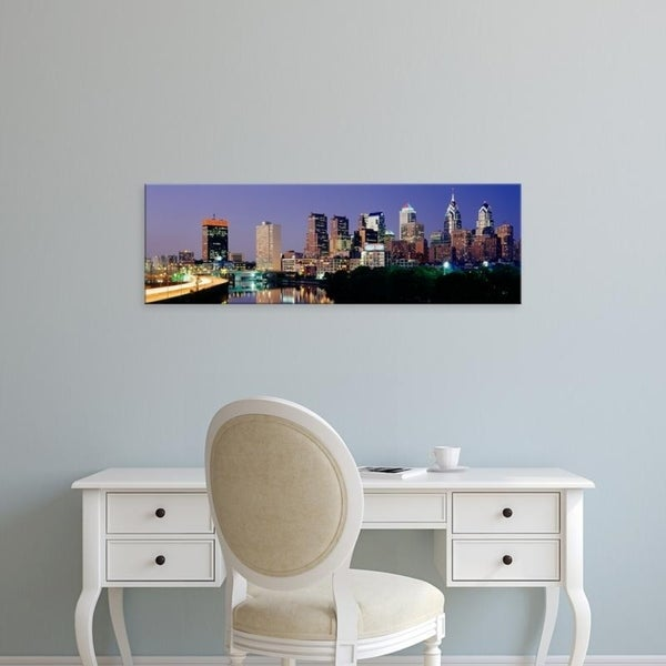 Easy Art Prints Panoramic Images's 'US, Pennsylvania, Philadelphia skyline, night' Premium Canvas Art