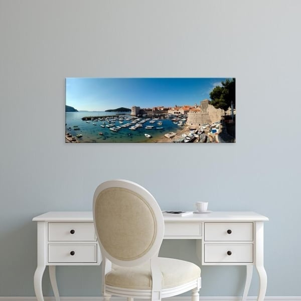 Easy Art Prints Panoramic Images's 'Boats in the sea, Old City, Dubrovnik, Croatia' Premium Canvas Art