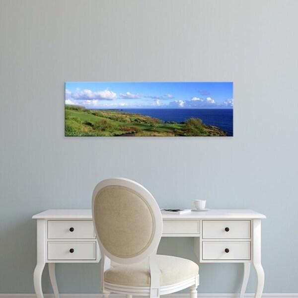 Easy Art Prints Panoramic Images's 'Golf Course, Manalee Bay, Lanai, Hawaii, USA' Premium Canvas Art