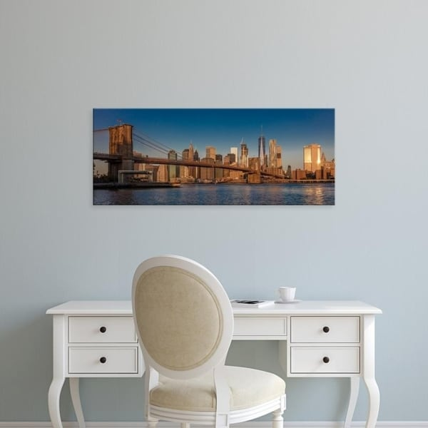 Easy Art Prints Panoramic Images's 'Brooklyn Bridge and Manhattan Skyline, NY, NY at Sunrise' Premium Canvas Art