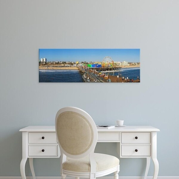 Easy Art Prints Panoramic Images's 'Amusement park, Santa Monica Pier, Santa Monica, Los Angeles County, California' Canvas Art