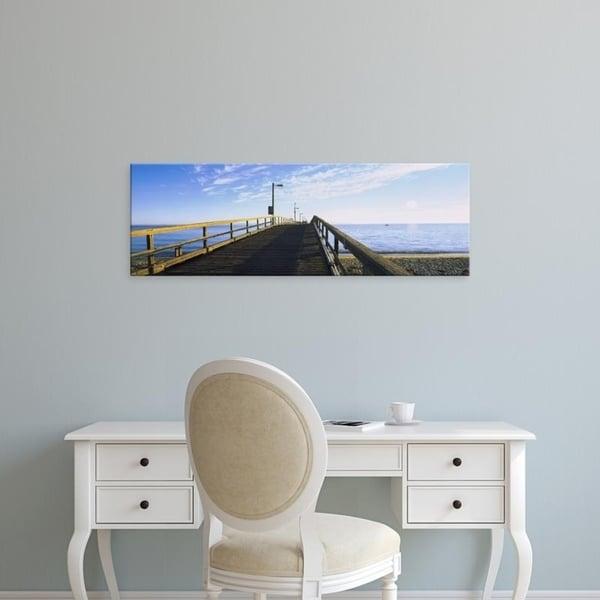 Easy Art Prints Panoramic Images's 'Pier over the Pacific ocean, Goleta Beach Pier, Goleta, California, USA' Premium Canvas Art