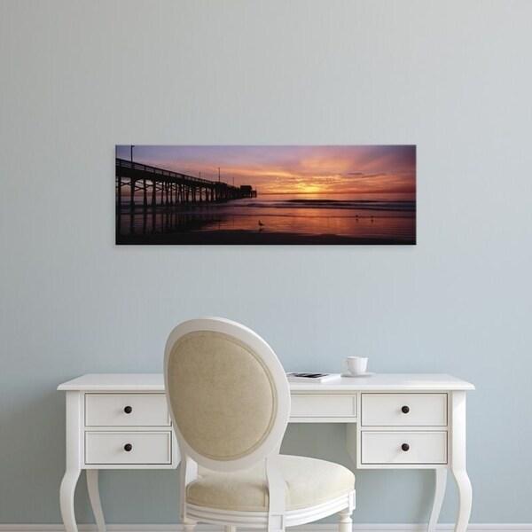 Easy Art Prints Panoramic Images's 'Newport Pier at sea, Newport Beach, Orange County, California, USA' Premium Canvas Art
