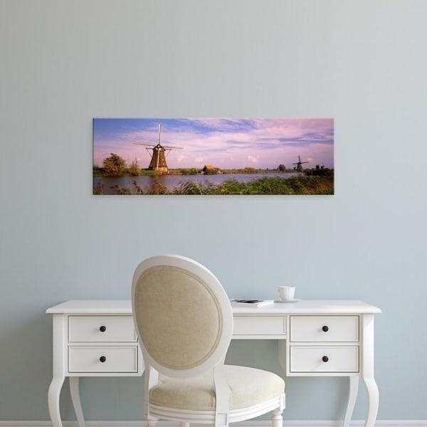 Easy Art Prints Panoramic Images's 'Netherlands, Holland, windmills' Premium Canvas Art