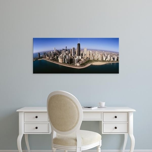 Easy Art Prints Panoramic Images's 'Aerial view of buildings, Lake Michigan, Lake Shore Drive, Chicago, Illinois' Canvas Art