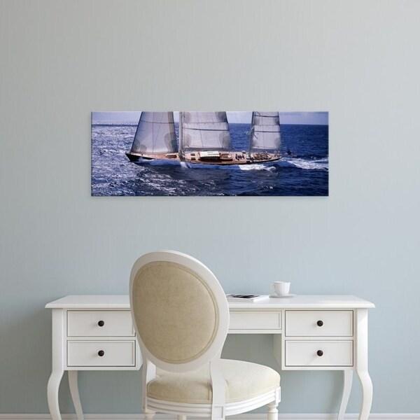 Easy Art Prints Panoramic Images's 'Sailboat in the sea, Antigua' Premium Canvas Art