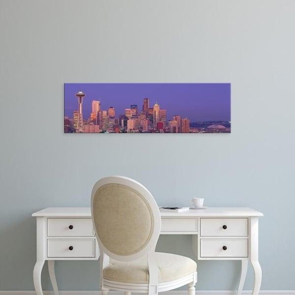 Easy Art Prints Panoramic Images's 'USA, Washington, Seattle, cityscape at twilight' Premium Canvas Art