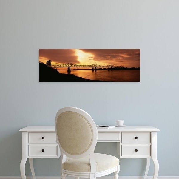 Easy Art Prints Panoramic Images's 'Bridge across a river, Mississippi River, Natchez, Mississippi, USA' Premium Canvas Art