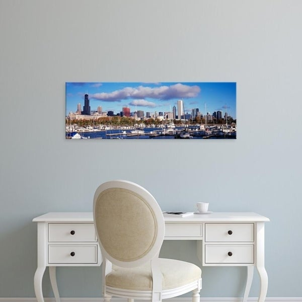 Easy Art Prints Panoramic Images's 'Boats docked at Burnham Harbor, Chicago, Illinois, USA' Premium Canvas Art