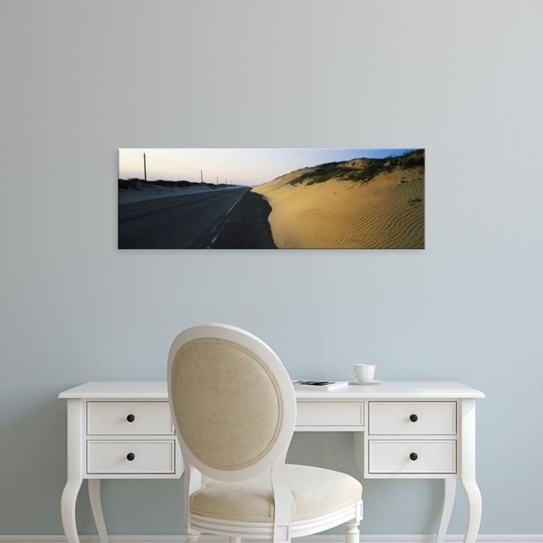 Easy Art Prints Panoramic Images's 'Road passing through a landscape, South Padre Island, Texas, USA' Premium Canvas Art