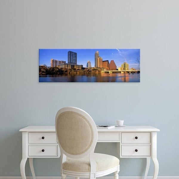 Easy Art Prints Panoramic Images's 'Skyscrapers at the waterfront, Lady Bird Lake, Austin, Texas, USA' Premium Canvas Art