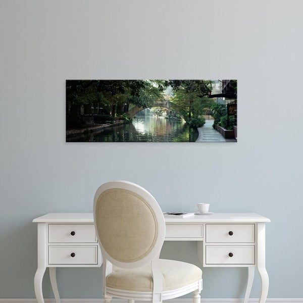 Easy Art Prints Panoramic Images's 'Footbridge Over A Canal, San Antonio, Texas, USA' Premium Canvas Art
