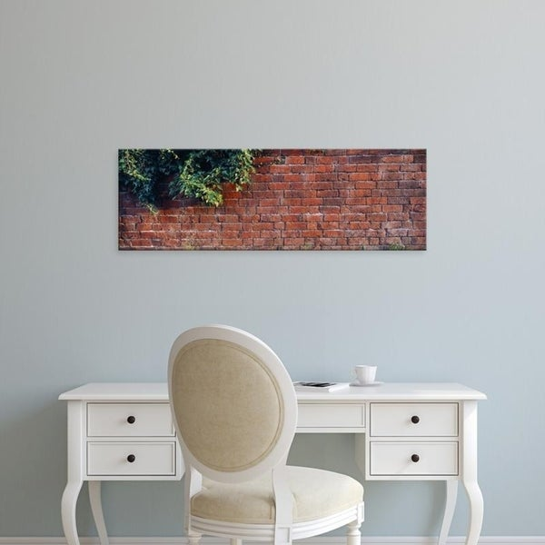Easy Art Prints Panoramic Images's 'Close-up of a brick wall with ivy, England' Premium Canvas Art