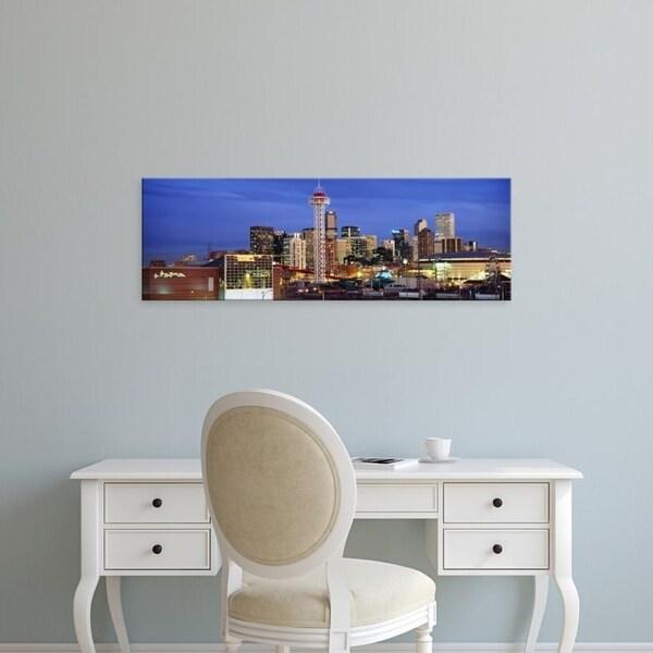 Easy Art Prints Panoramic Images's 'Buildings lit up at dusk, Denver, Colorado, USA' Premium Canvas Art