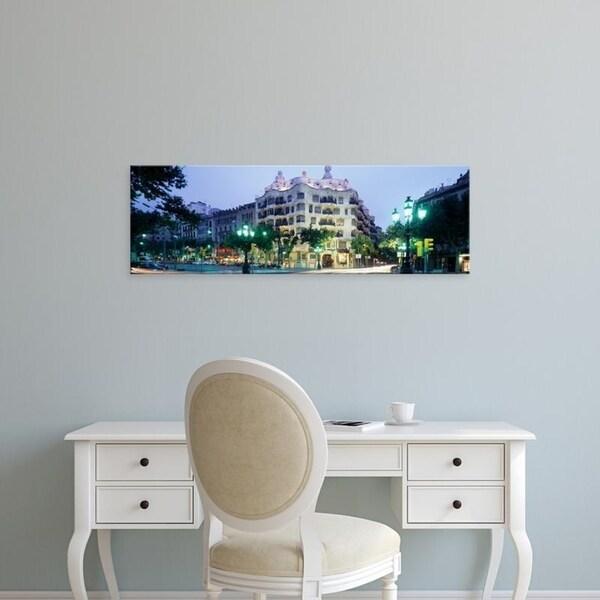 Easy Art Prints Panoramic Images's 'Facade of a building, La Pedrera (Casa Mila), Barcelona, Spain' Premium Canvas Art