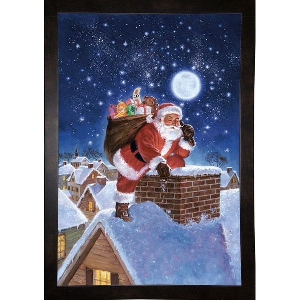 "Santa On Rooftop-HALFRE17464 Print 18.5""x12.5"" by Hal Frenck"