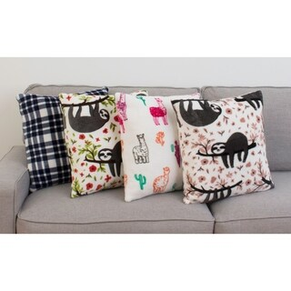 "Thro Set of 2 18"" Seth Sloth Fleece Pillows"