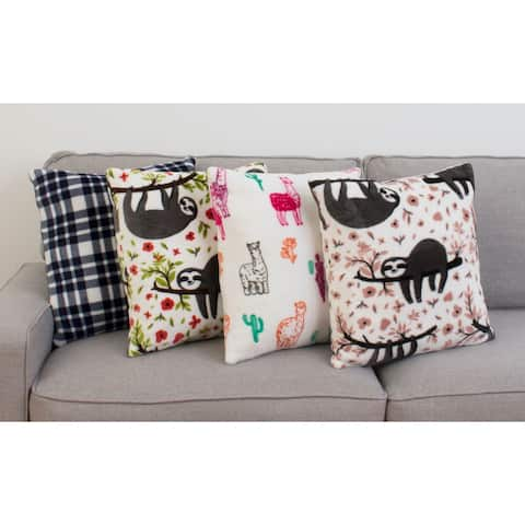 "Thro Set of 2 18"" Larry Llama Fleece Pillows"