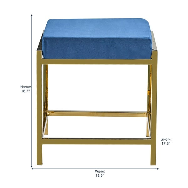 Porthos Home Kes Accent Bench/Stool, Gold Stainless Steel & Suede