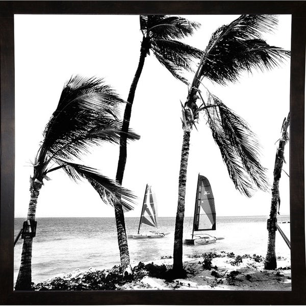"Breeze And Boats B& W-HARBEA68930 Print 18""x18"" by Harold Silverman - Beach, Palms & Lighthouses"