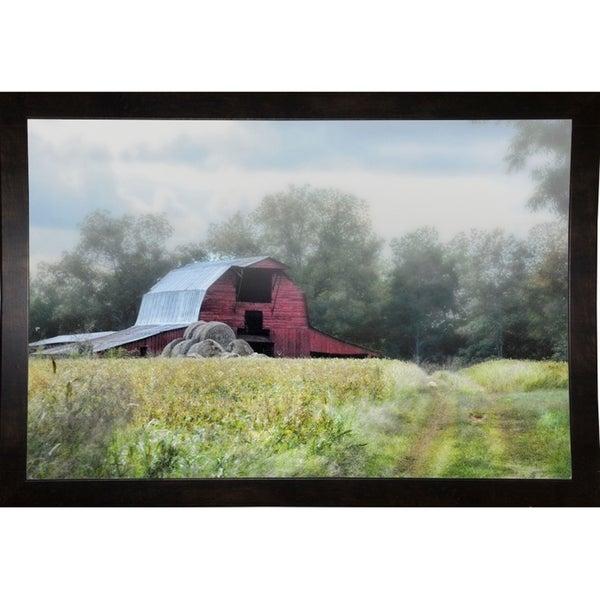 "Red Barn In The Fog-JAIJOH140085 Print 13.25""x20"" by Jai Johnson"