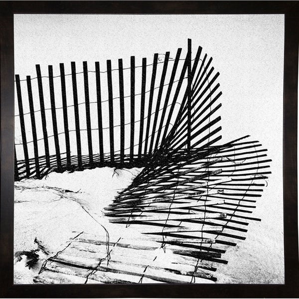 """Fence In Sand-HARBEA78028 Print 20.25""""x20.25"""" by Harold Silverman - Beach, Palms & Lighthouses"""