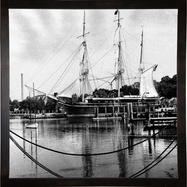 "Oldtime Sailing Boat B & W-HARBOA66964 Print 20""x20"" by Harold Silverman - Boats"