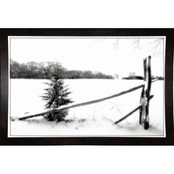 "Winter White W_Fence-HARTRE57474 Print 11.25""x17.5"" by Harold Silverman - Trees & Old Fences"