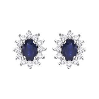14K White Gold 7/8ct TDW Diamond and 2ct TDW Blue Sapphire Starburst Earring Jackets (G-H, I2)