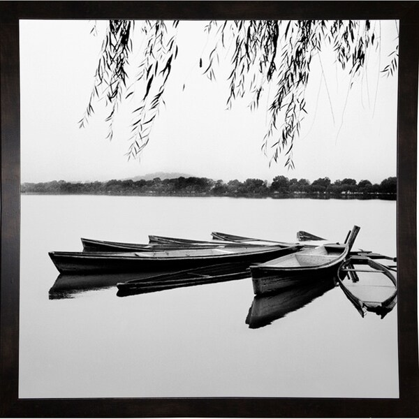 "Boats With Trees-HARBOA50399 Print 28""x28"" by Harold Silverman - Boats"