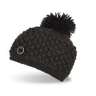 180's Women's Pom Pom Button Beanie Black