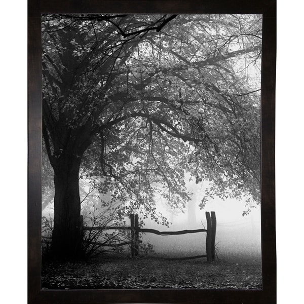 """Rolling Fog With Fence B/W-HARTRE61327 Print 20""""x16"""" by Harold Silverman - Trees & Old Fences"""
