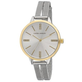 Laura Ashley Two Toned Split Mesh Band Sunray Dial Watch