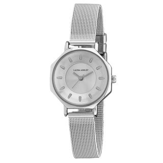 aura Ashley Silver Ladies Octagon Case Mesh Watch