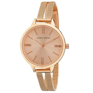 Laura Ashley Rose Gold Split Mesh Band Sunray Dial Watch