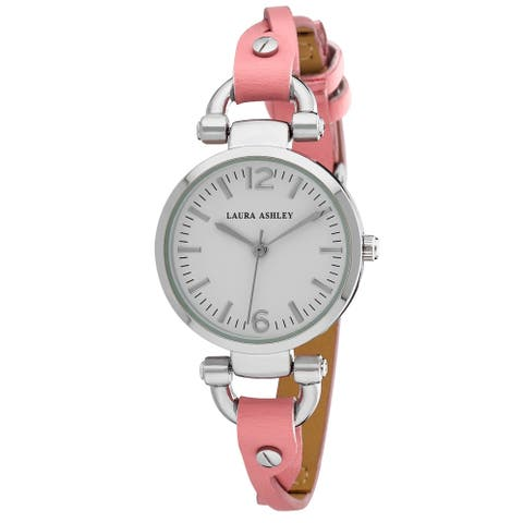 Laura Ashley Pink Ladies Dial Analog Display Twisted Band Round Watch