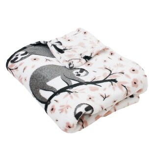 "Thro 50x60"" Seth Sloth Printed Fleece Decorative Throw"