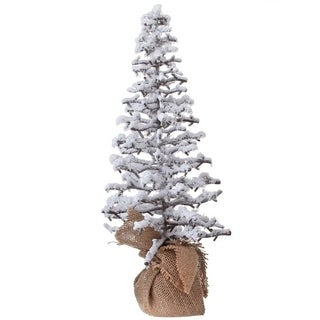 18 Inch Snow Twig Tree With Burlap - 18 Inches