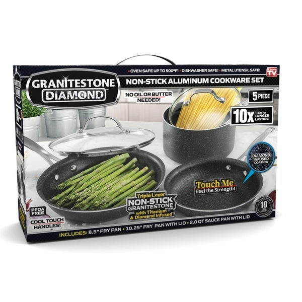 Granite Stone Diamond Non-stick 5PC Mineral Infused Titanium Cookware Set. Opens flyout.