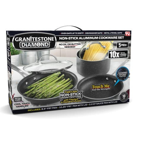 Granite Stone Diamond Non-stick 5PC Mineral Infused Titanium Cookware Set