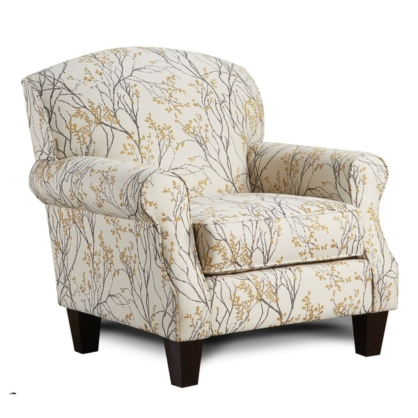 Shop Myla Marigold Beige Floral Accent Chair Free Shipping Today
